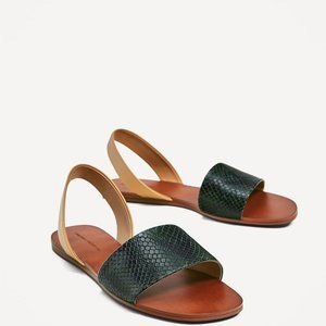 NWT ZARA TWO-TONE EMBOSSED SLIDES, 6
